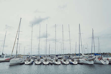inclement: yachts on the dock during inclement weather Stock Photo
