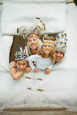 native american baby: photo of happy children with native american costumes