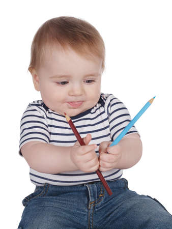 pencil and paper: photo of cute little boy with colorful pencils