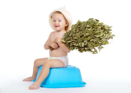 bathhouse: little boy with bath hat and broom