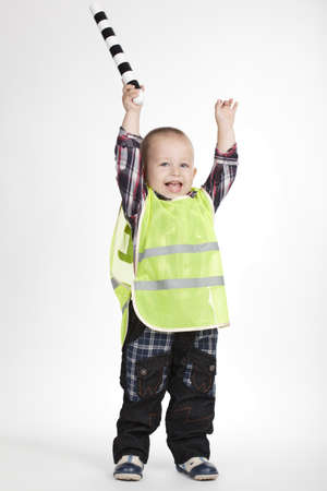 flak: photo of little traffic warden on white background Stock Photo