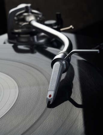 close-up foto van vinyl schijf speler Stockfoto