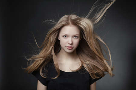 beautiful teen girl portrait with windy hair Stok Fotoğraf