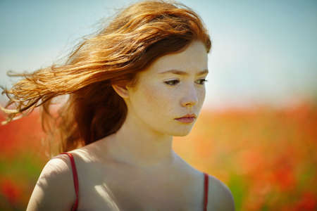 young red haired beautiful girl in poppy field Reklamní fotografie