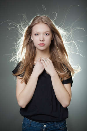 beautiful teen girl portrait with windy hair Stockfoto