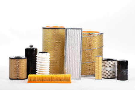 photo of car filter isolated on white background Archivio Fotografico