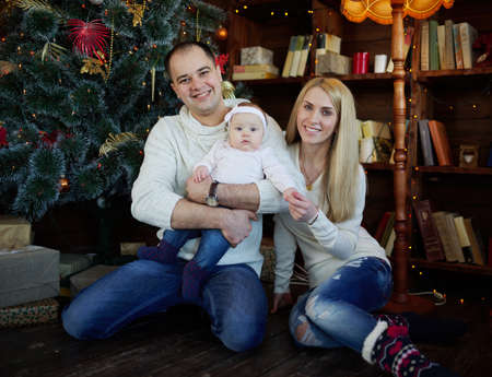 family  room: photo of happy family in christmas decorated room