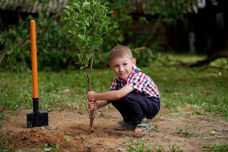 sembrando un arbol: foto de niño pequeño divertido con la pala en el jardín Foto de archivo