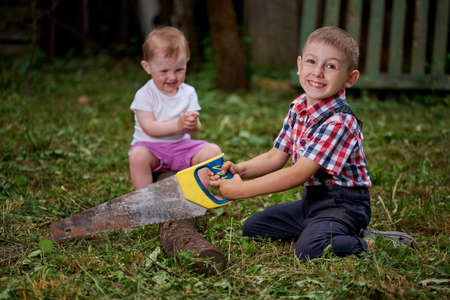 sawing: little boy sawing fallen tree in garden