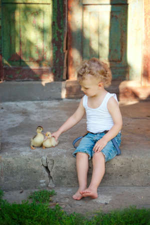 yellow duckling: little boy with little yellow duckling in summer village