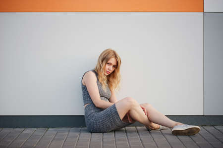 slinky: photo of young beautiful blonde girl outdoors Stock Photo