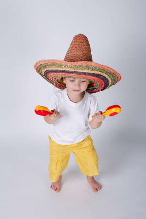 photo of cute little boy with sombrero