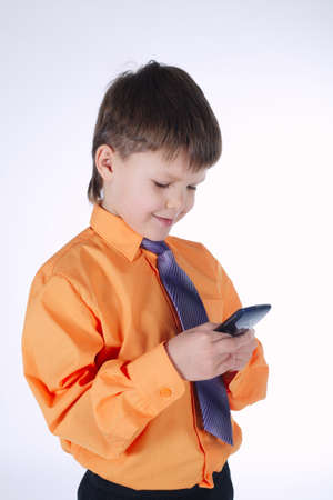 photo of young businessman boy on white