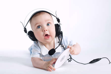 photo of cute young DJ on white