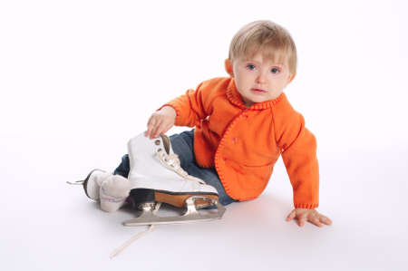 funny little kid with skates