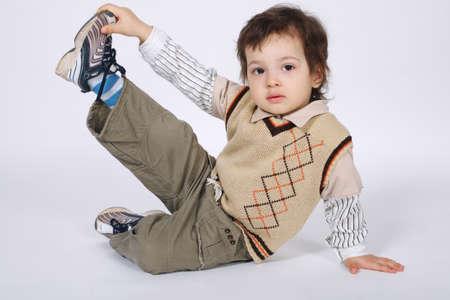 little boy doing exercises