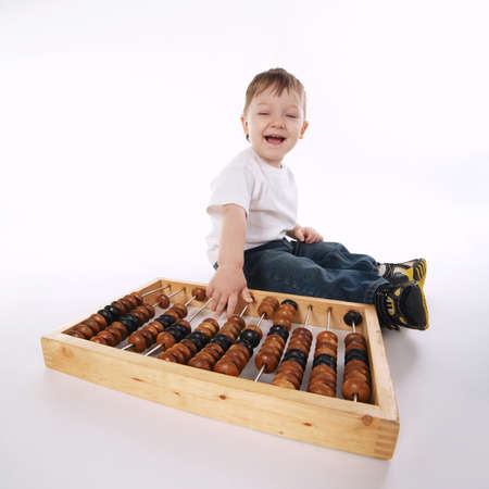 boy with abacus isolated on white