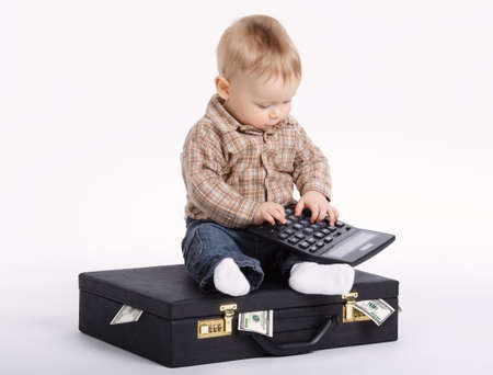 young bookkeeper with suitcase of money