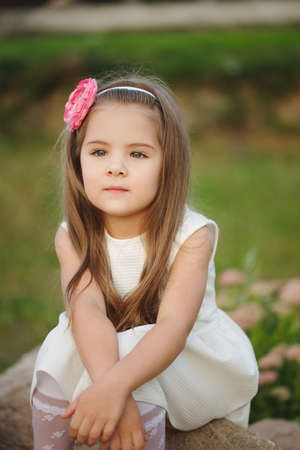 Young beautiful girl with long hair Stock Photo