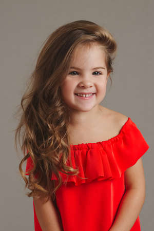 photo of young beautiful girl with long hair