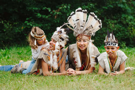 happy children playing native american photo
