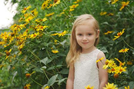 beautiful girl in white dress Stock Photo
