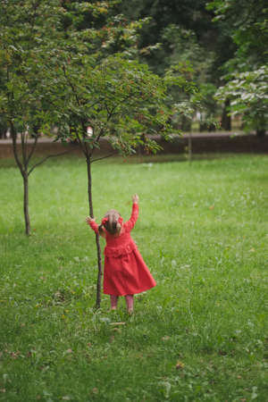 little funny girl with tree in summer park