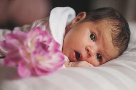 cute newborn girl at home