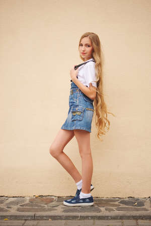 beautiful young girl with long hair