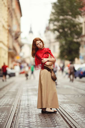 young beautiful girl on the street
