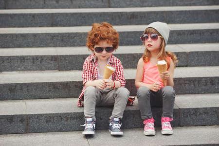 happy boy and girl with icecream