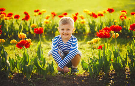 little boy with flowers Archivio Fotografico - 103294227
