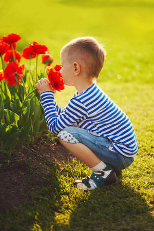 little boy with flowers Archivio Fotografico - 103294268