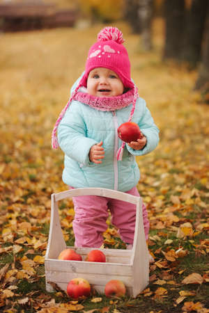 little girl with autumn harvest in park