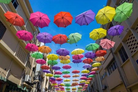 April 19, 2016 - Petaling Jaya, Malaysia : The beautiful and  colourful umbrellas hanged the middle of buildings of Petaling Jaya street of Selangor. It was one the most attractive place for visitors.