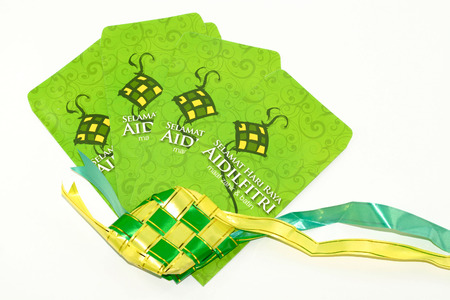May 2016,12 - Kuala Lumpur, Malaysia : A close-up of Duit Raya which is money given from adult to children during Eid al-Fitr celebration in Malaysia.