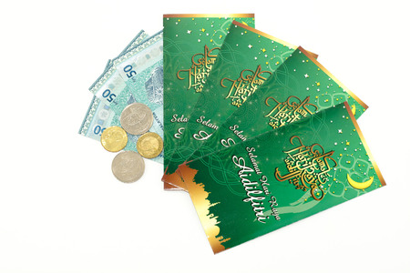 A Money Packet for Ramadan  and Eid ul Fitr Celebration isolated on white background. Editorial