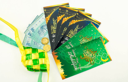 ul: A Money Packet for Ramadan  and Eid ul Fitr Celebration isolated on white background. Editorial