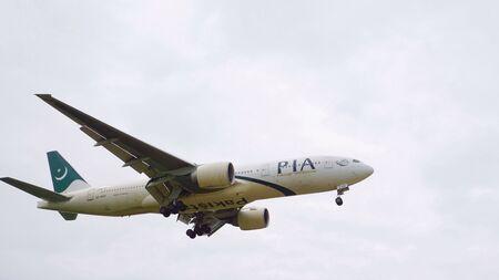 KUALA LUMPUR INTERNATIONAL AIRPORT KLIA, SEPANG, MALAYSIA- 14 May 2016: International airplane approaching airport at KLIA, Malaysia.
