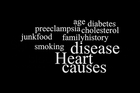 HEART DISEASE CAUSES  word cloud, health and medical concept