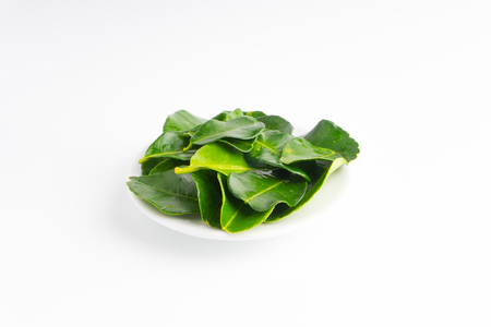 Kaffir lime leaf (Daun limau purut) isolated on white background Stockfoto