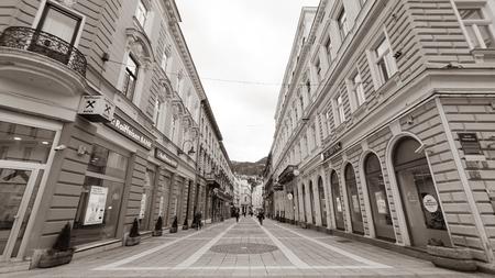 Sarajevo, Bosnia - December 15,2018 - View of the historic centre of Sarajevo, Bosnia and Herzegovina. Black and White