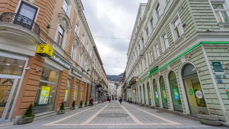 Sarajevo, Bosnia - December 15,2018 - View of the historic centre of Sarajevo, Bosnia and Herzegovina. Selective focus