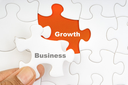Hand holding piece of jigsaw puzzle with word BUSINESS GROWTH. Selective focus