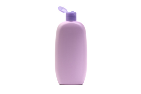 Baby oil or shampoo bottle isolated on white background. Healthcare and business concept