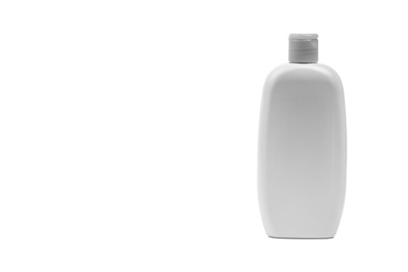 Baby oil or shampoo bottle isolated on white background. Copy Space and Black and White