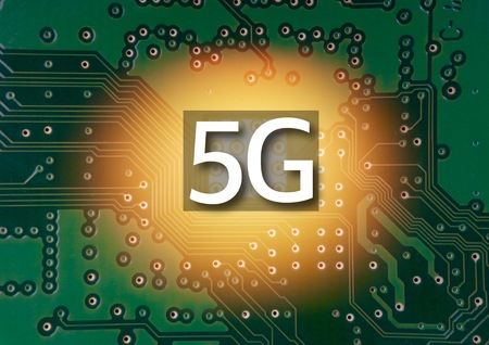 5G Mobile chip on computer board background. Copy space and Technology concept