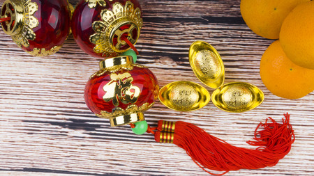 Mandarin Orange, Red Envelopes, lantern land Gold Ingots. New Year background concept Stockfoto