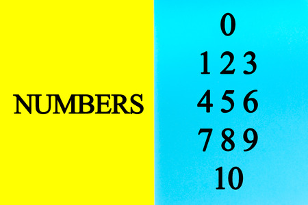 Set of Numbers written words on blue and yellow background.
