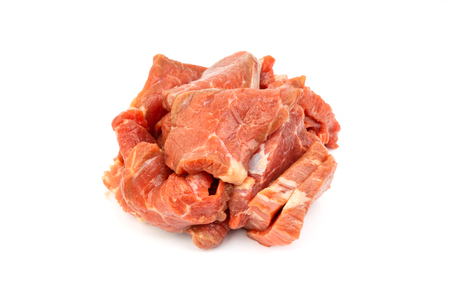Fresh raw beef meat slices isolated over white background. Selective focus Standard-Bild - 122182922